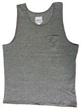 Trinity Collective Men's Tank Top, Pocket on Front (Grey Striped) Sz:MEDIUM