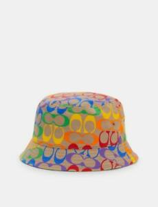 NWT COACH Unisex  Pride RAINBOW SIGNATURE BUCKET HAT