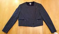 Anne Klein Womens Optical Jacquard Moto Jacket Size 6 Asymmetric Zip Blazer NWT