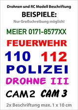 Drohnen und RC Modell Beschriftung für Modellbau selbstklebend Buchstaben Zahlen