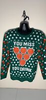"""Men's Ugly Stuff UGLY CHRISTMAS SWEATER """"You Miss You Drink"""" Size L Large New"""