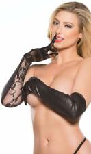 Wet Look and Floral Lace Gloves Elbow Length Four Way Stretch Kitten G-5002