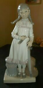"""Vtg Lladro Figurine Girl with Cello Musical Instrument - 12"""" tall - Gloss Finish"""