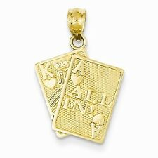 14K YELLOW GOLD ACE & KING OF HEARTS ALL IN! PLAYING CARDS CHARM PENDANT- 1.2 GM