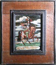 LOUIS XIV ON HORSEBACK ORIGINAL ANTIQUE REVERSE PAINTING ON GLASS, SCARCE