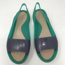 Crocs Womens 5 Blue Green Slingback Peep Toe Gel Sandals