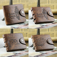 Fashion Men Genuine Cowboy Leather Bifold Wallet Multi Clutch Pocket Purse WFAU