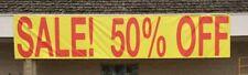 """SALE SIGN, VINYL, """"SALE! 50% OFF"""", 32"""" GROMMET SPACING,  4' X 25'"""