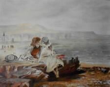 Children Playing on the Beach Charming Oil Painting HR Clarke 1988 British Schl