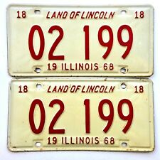 Illinois 1968 Pair Old License Plate Garage Tag Man Cave Vtg Decor Liverly