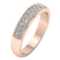 Genuine Diamond I1 G 0.65 Ct Anniversary Ring 14K White Gold Prong Set 4.10MM