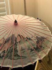 Vintage White Silk Pink Wood Parasol Hand Painted Butterflies Flowers Umbrella
