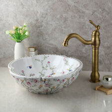 Ceramic Basin Bowl Vessel Sink Antique Brass Bathroom Mixer Faucet Drain Combo