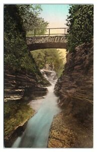 The Narrows, Enfield Glen State Park, NY Hand-Colored Postcard *6L4