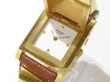 Auth HERMES Medor Gold Brown White Women's Wrist Watch 738249