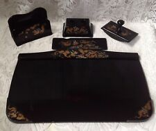 More details for chinese vintage black laquered hand painted desk set items hwa mi ware, foochow