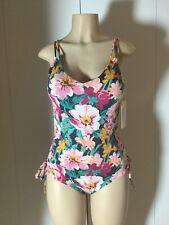 20ca8f1dc5f Tori Praver Seafoam Lace-up One Piece Floral Women's Swimsuit Size L