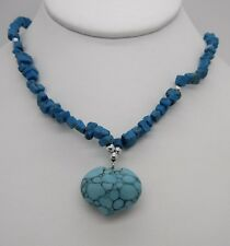"""17"""" Turquoise Howlite Chip Bead Necklace~Silver Tone~Beautiful!"""