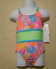 St Tropez Girls One-Piece Floral Bathing Suit Pink Balloon Five (5) NWT