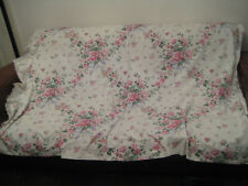 Unlined Curtains Trad Cottage Floral Lace Frill Edge Lacy T/Bs 72' W x 52' Drop
