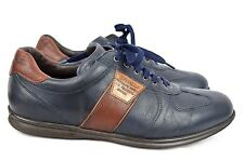 Galizio Torresi Mens Navy Brown Leather Lace Up Shoes 43/10 Extra Wide Italy