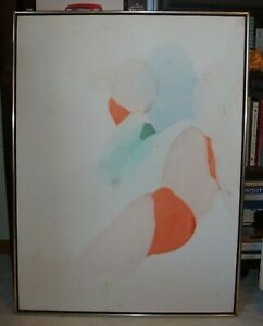 """Alice Baber 1975 Original Oil called """"Pink Shadow of the Hermit,"""" damaged"""