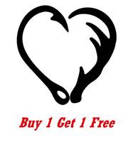 ~* 2 LOVE HUNTING & FISHING Heart shape Vinyl Decal Sticker deer hunt fish