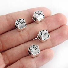 10X Tibetan Silver Dog Paw Printed Big Hole Loose Beads 12*11mm For DIY Bracelet