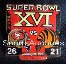 SUPER BOWL 16 Final Score LAPEL PIN & CARD Willabee Ward 49ERS vs BENGALS SB XVI