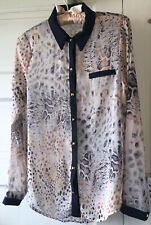 f8c3e889865e8 Lush Animal Print Women s Blouse Top Long Sleeve Black cuffs Buttons Size S