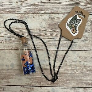 handmade necklace octopus in a glass bottle #962 black toned chain ocean NWT