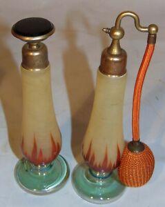 2 Czech Art Deco Perfume Bottle Atomizer Yellow Cranberry Glass Flame Devilbiss