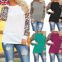 Autume Womens Chiffon Leopard Loose Long Sleeve Blouse T-Shirt Casual Tops S-5XL