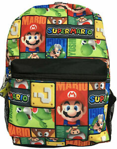 "Super Mario School Backpack Book Bag Yoshi Luigi Toad Character Printed 16"" Gift"