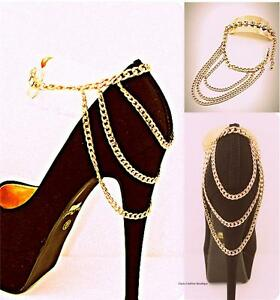 Shoe Anklet jewlery Sexy Gold ankle Band Rhinestone Chain  Boot Heel Stiletto