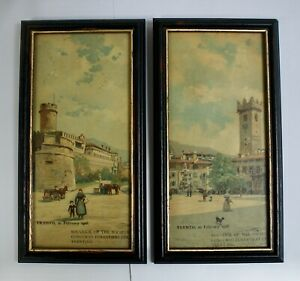 Pair Antique Framed Chromo-Litho Prints, Trento, Italy, 1906