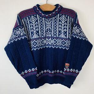 Vintage Dale Of Norway Chunky Knit Pure Wool Jumper - Medium