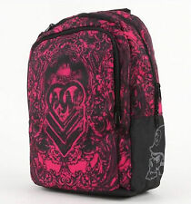 BRAND NEW METAL MULISHA BACKPACK SCHOOL SHOULDER TRAVEL BAG BOOK BLACK PINK TOTE