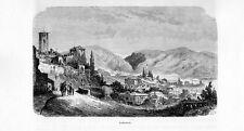 Stampa antica BASSANO del GRAPPA veduta panoramica Vicenza 1877 Old print