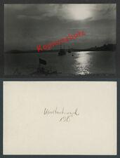 Photo CONSTANTINOPLE marine de guerre seekreuzer drapeau croissant Bosphore Ottomans 1915