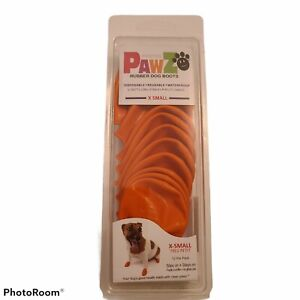 PawZ Rubber Dog Boots Water-Proof Disposable Reusable Orange X Small Complete