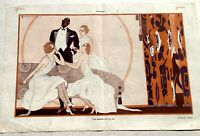 1920's Le Sourire Centerfold Illustration 3 White Women w/ A Black Man