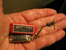 "Rare Vintage Miniature Million Dollar ""Baby"" Harmonica w/ Chain in Original Box"