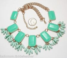 Mint Green Bib Necklace, Large Rectangles w/Dangles, Panther Chain, 21.5""