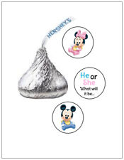 108 GENDER REVEAL MICKEY MINNIE BABY SHOWER HERSHEY KISS KISSES CANDY STICKERS *