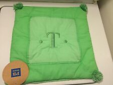 "Pottery Barn Teen Crinkle Puff Toss Pillow Cover, ""T"" Mint Green NWT 16X16 In"