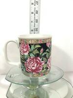 Vintage Floral Coffee Mug Japanese Peony Handcraft Made In Japan Colorful Cup C2