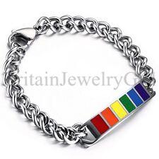 "8.7"" Stainless Steel LGBT Lesbian Gay Pride Love Chain Link Bracelet Cuff *8MM"