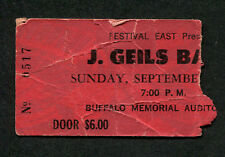 1974  J Geils Band Concert Ticket Stub Buffalo Nightmares Must Of Got Lost