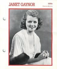 Janet Gaynor 1930 Actress Movie Star Card Photo Front Biography on Back 6 x 7""